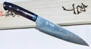 "COUTEAU ARTISANAL ""RAINBOW DAMASCUS"" DE TAKESHI SAJI - CHEF 180 MM"